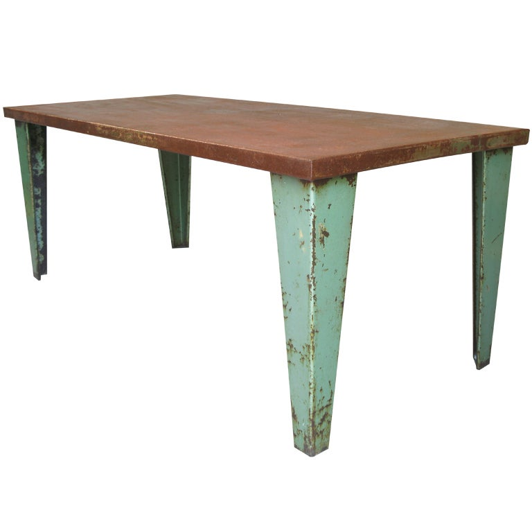 French iron table in the style of jean prouv at 1stdibs - Table basse jean prouve ...