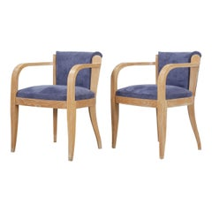 Pair of French Cerused Oak Armchairs, Circa 1940s