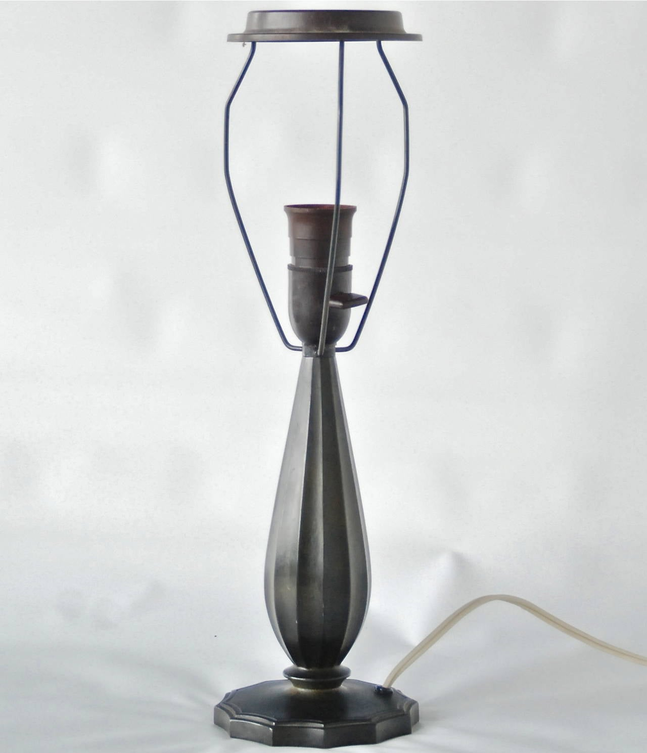 Rewiring A Table Lamp By Just Andersen For Sale At 1stdibs Denmark Circa 1930s Patinated Disco Metal