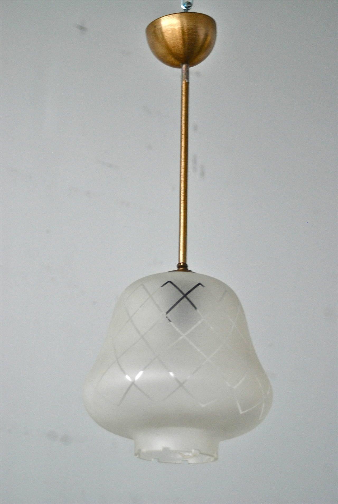 Scandinavian Modern Pendant, Orrefors Attributed For Sale