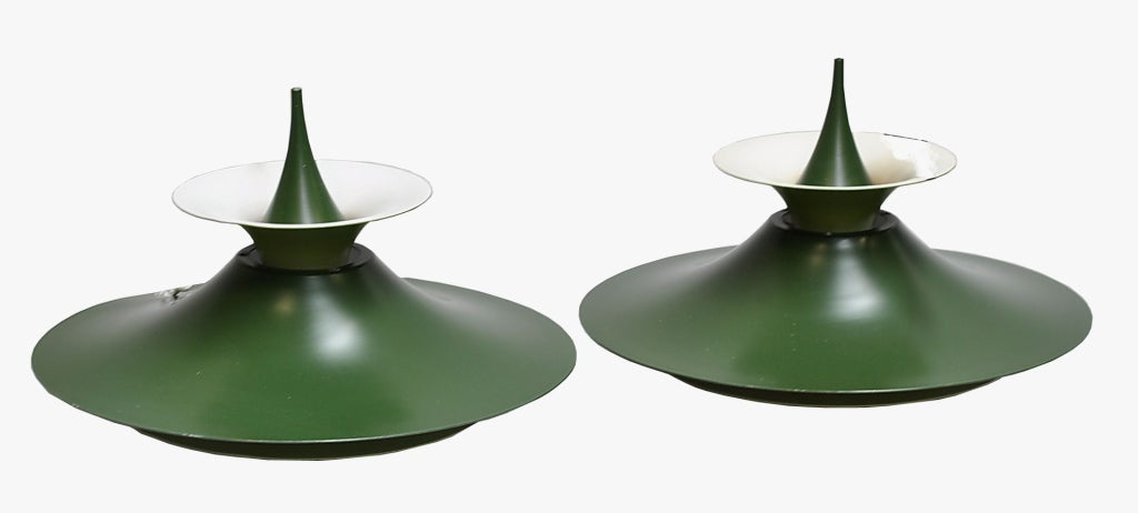 """A couple of """"Radius"""" pendants by Erik Balslev. A green and white lacquered aluminum. Produced by Fog and Mørup. Ø 19"""". A few small scratches.  Existing European wiring. Re- wiring available upon request. Priced individually."""