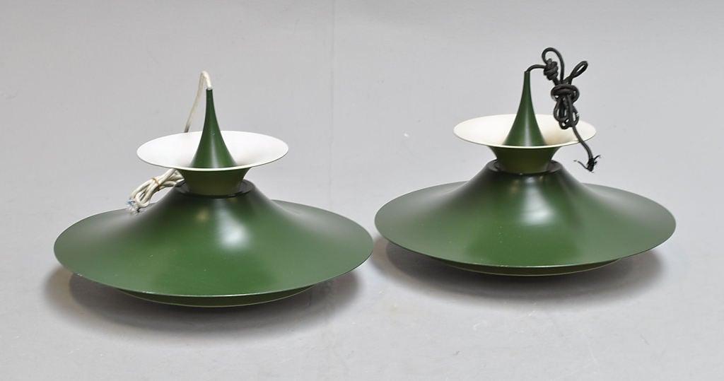 "Scandinavian Modern Pair of ""Radius"" Pendants by Erik Balslev For Sale"