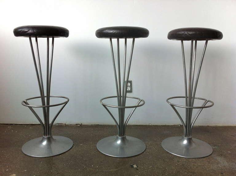 Set Of Three Bar Stools By Piet Hein For Fritz Hansen At