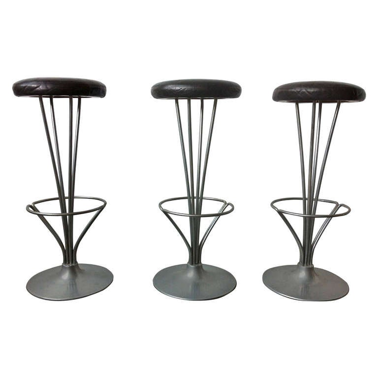 Set Of Three Bar Stools By Piet Hein For Fritz Hansen At
