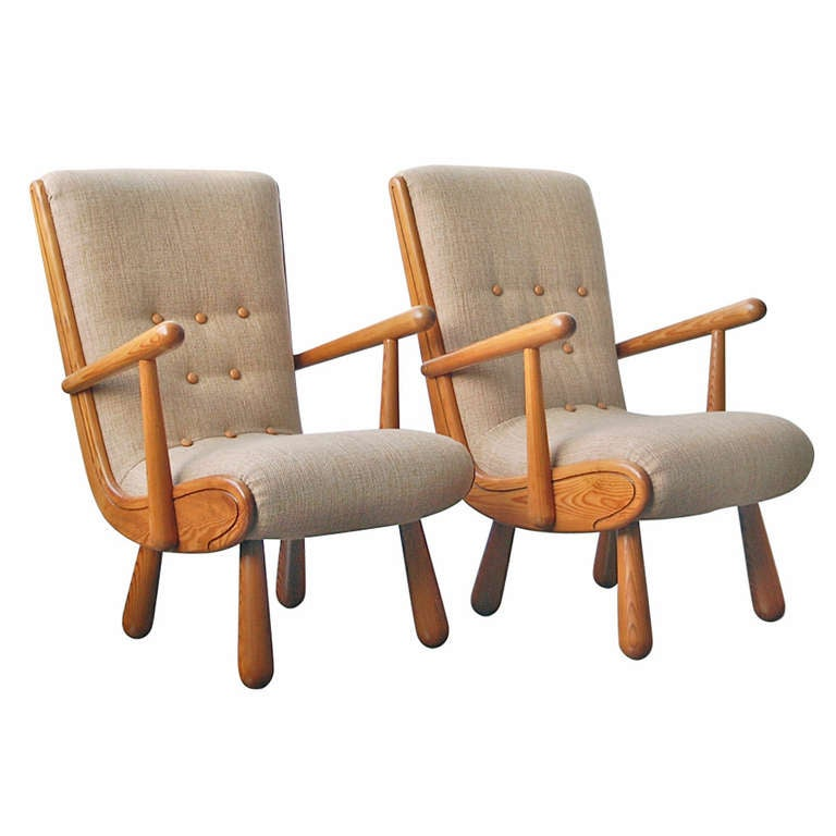 Pair Of Scandinavian Armchairs, In The Style Of Philip Arctander For Sale