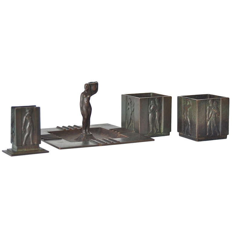 Swedish Art Deco Smoking Set in Bronze by GAB
