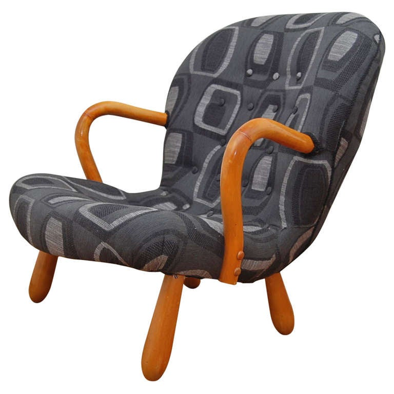 """""""Clam"""" Chair/Rocking Chair by Philip Arctander"""