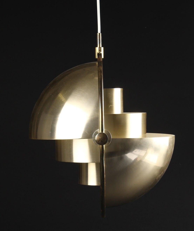 Louis Weisdorf, b. 1932. Multi-light pendant, brass. Produced by Lyfa, labeled accordingly. Measures: (40 cm). 16