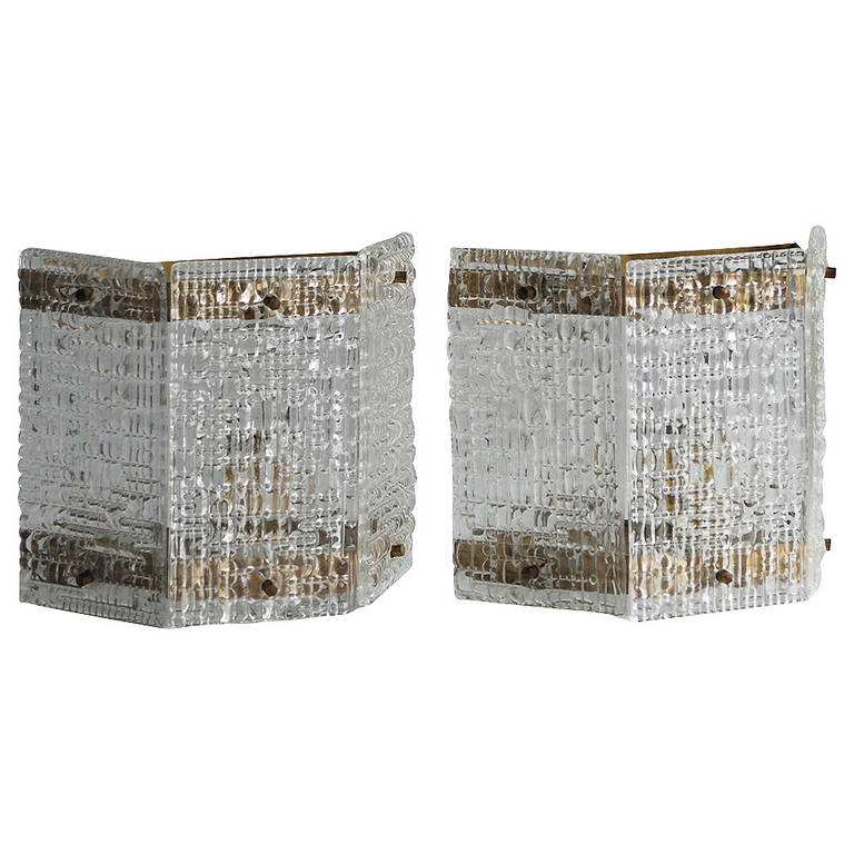 Pair of Wall Lights Attributed to Orrefors