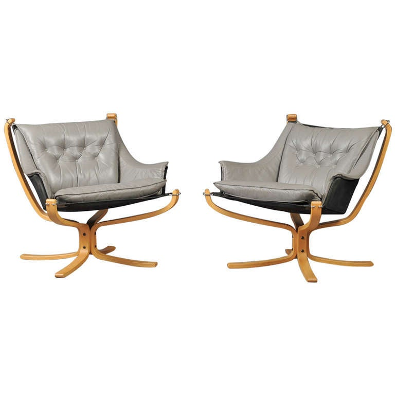 """Pair of """"Falcon"""" Armchairs by Sigurd Ressell"""