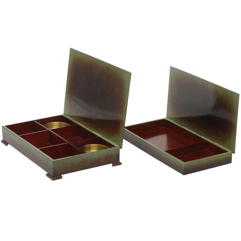 Pair Of Bronze Game Boxes By Ystad Brons 1