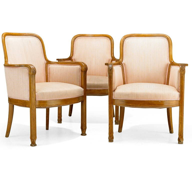 """The armchairs, design attributed to David Blomberg for Nordiska Kompaniet, Sweden, circa 1909. Stained elmwood with carved decoration. H-36"""". Provenance: Graninge stiftsga°rd, Sweden. The house was built by Ferdinand Boberg for banker Mauritz"""