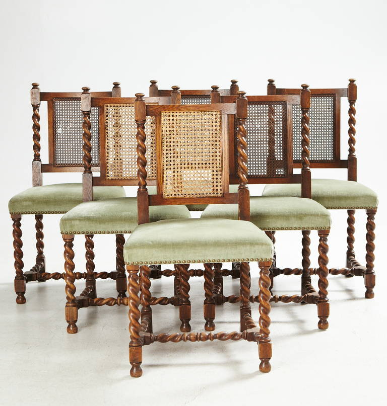 Eight dining chairs designed by Axel Einar Hjorth for Nordiska Kompaniet in 1928. Model