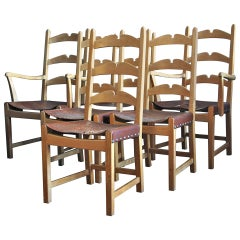 Set of 6 Dining Chairs in Cerused Oak by Axel Einar Hjorth, circa 1940
