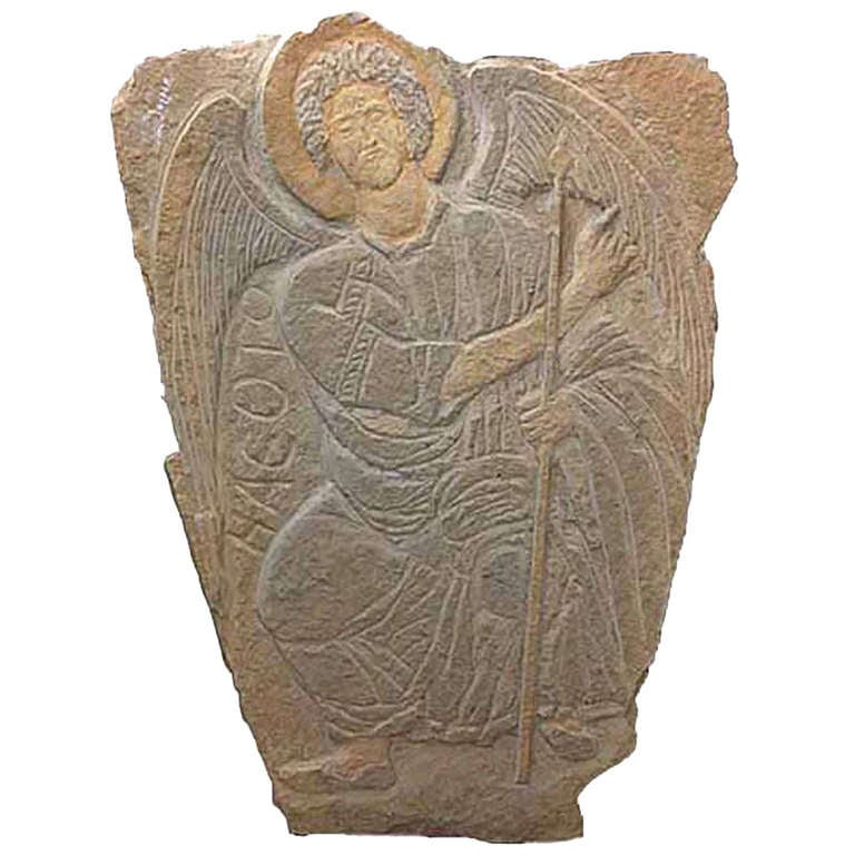 Stone carved angel relief at stdibs