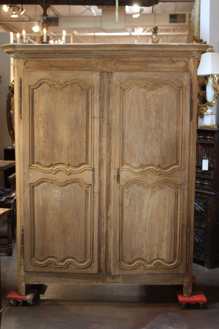 Antique French Bleached Oak Armoire At 1stdibs
