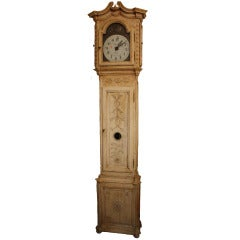 Antique Bleached Oak Grandfather Clock