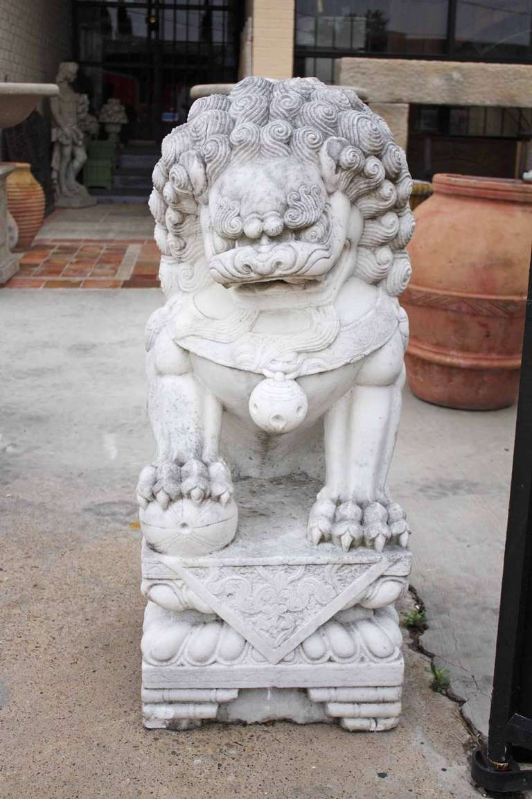Pair Of Antique White Marble Chinese Foo Dogs Circa 1850