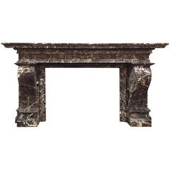 Mid 19th Century French Louis XIV Marble Mantle
