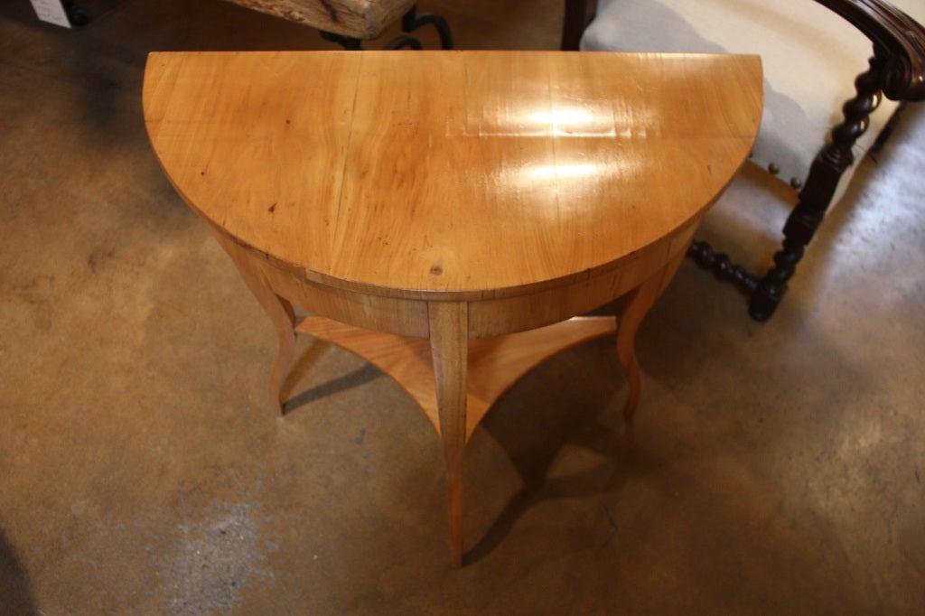 Antique biedermeier demi lune table at 1stdibs for Table demi lune extensible