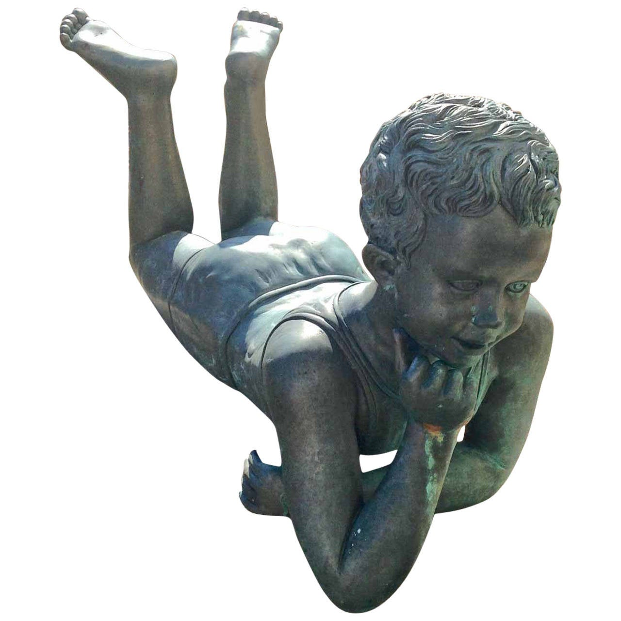 Bronze Boy Statue at 1stdibs