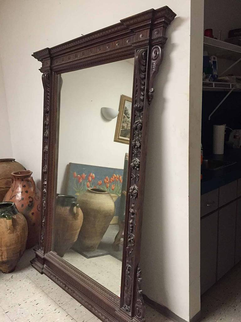 Large Carved French Mirror With Wooden Frame Circa 1870
