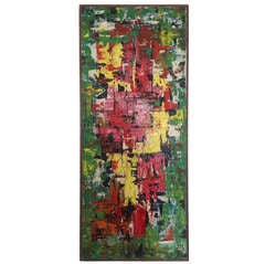 Stunning Colorful 1960s Abstract Oil on Canvas
