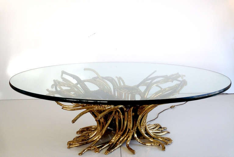 Illuminated Amethyst And Welded Tubular Brass Cocktail Table By Jacques Duval Brasseur At 1stdibs