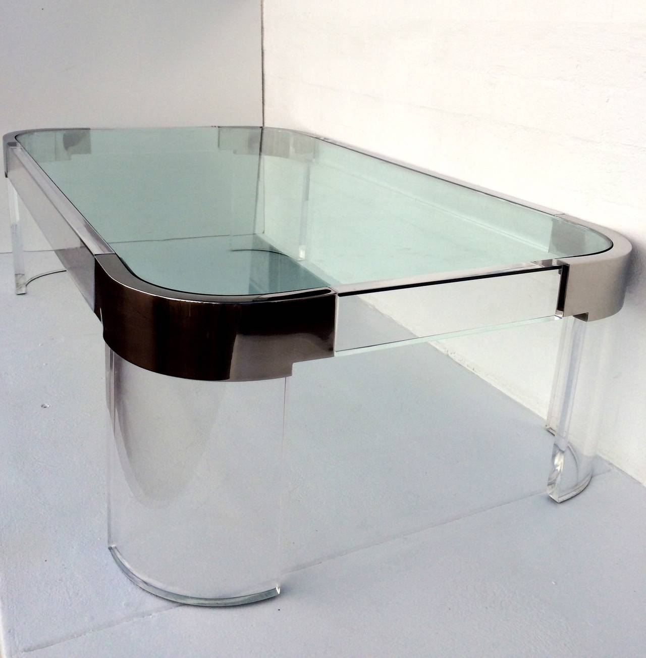Acrylic And Nickel Waterfall Line Cocktail Table By Charles Hollis Jones For Sale At 1stdibs