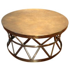 Solid Brass Drum Cocktail/Coffee Table