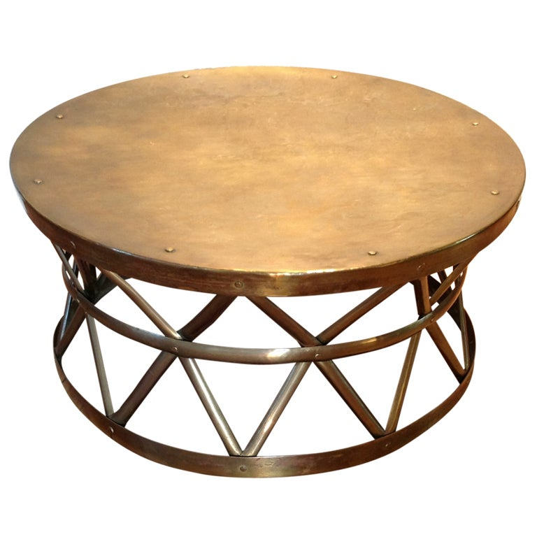 Solid Brass Drum CocktailCoffee Table at 1stdibs