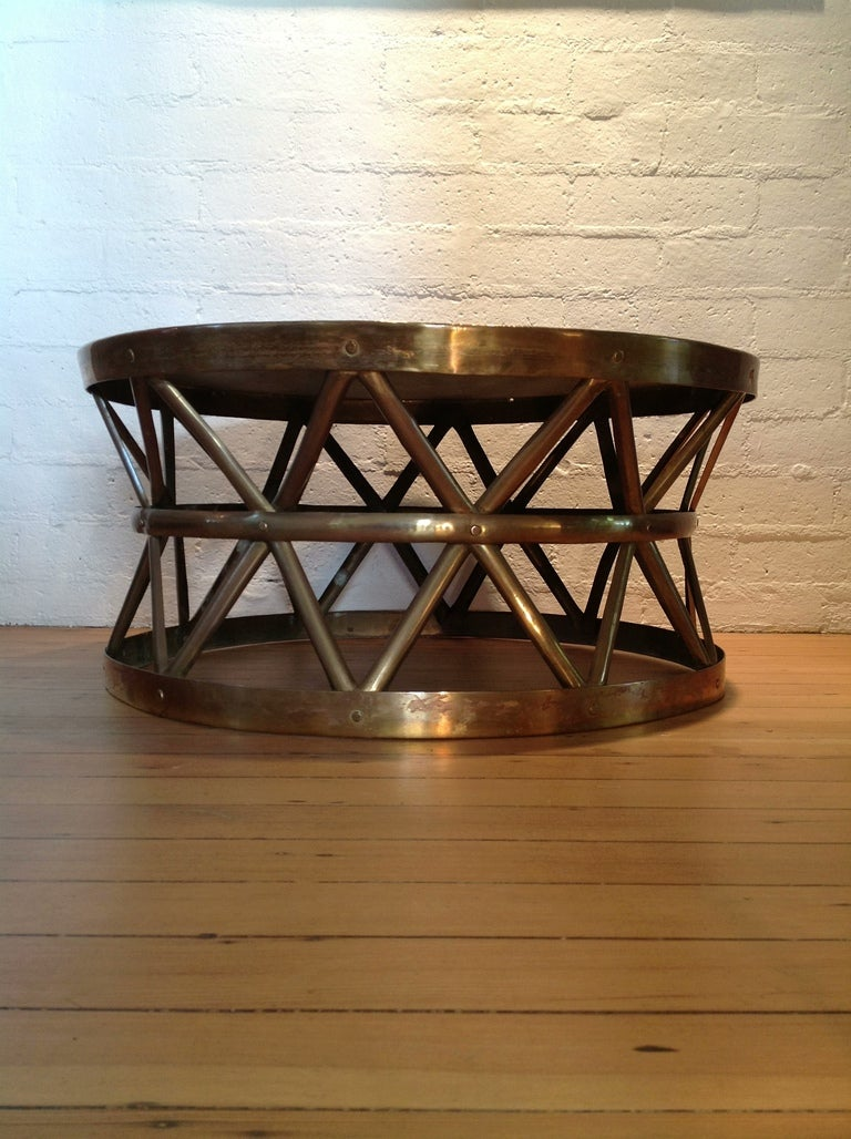 Solid Brass Drum Cocktail Coffee Table At 1stdibs