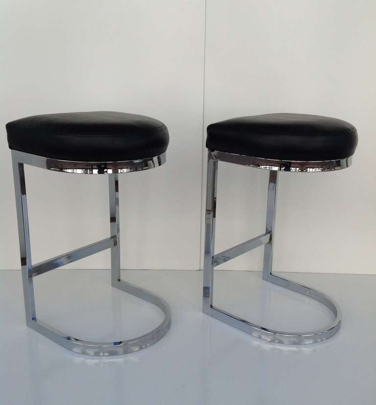 Polished Chrome Cantilevered Bar Stools Designed By Milo
