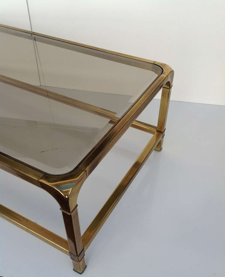 Brass And Smoked Glass Cocktail Coffee Table By