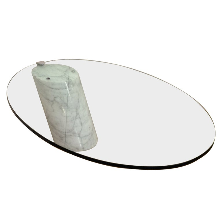 Cantilever Glass And Marble Cocktail Table At 1stdibs