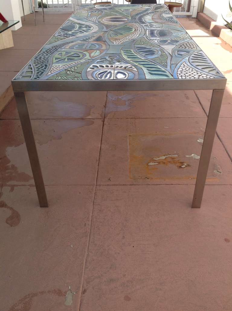 this one of a kind studio ceramic tile dining table designed by brent