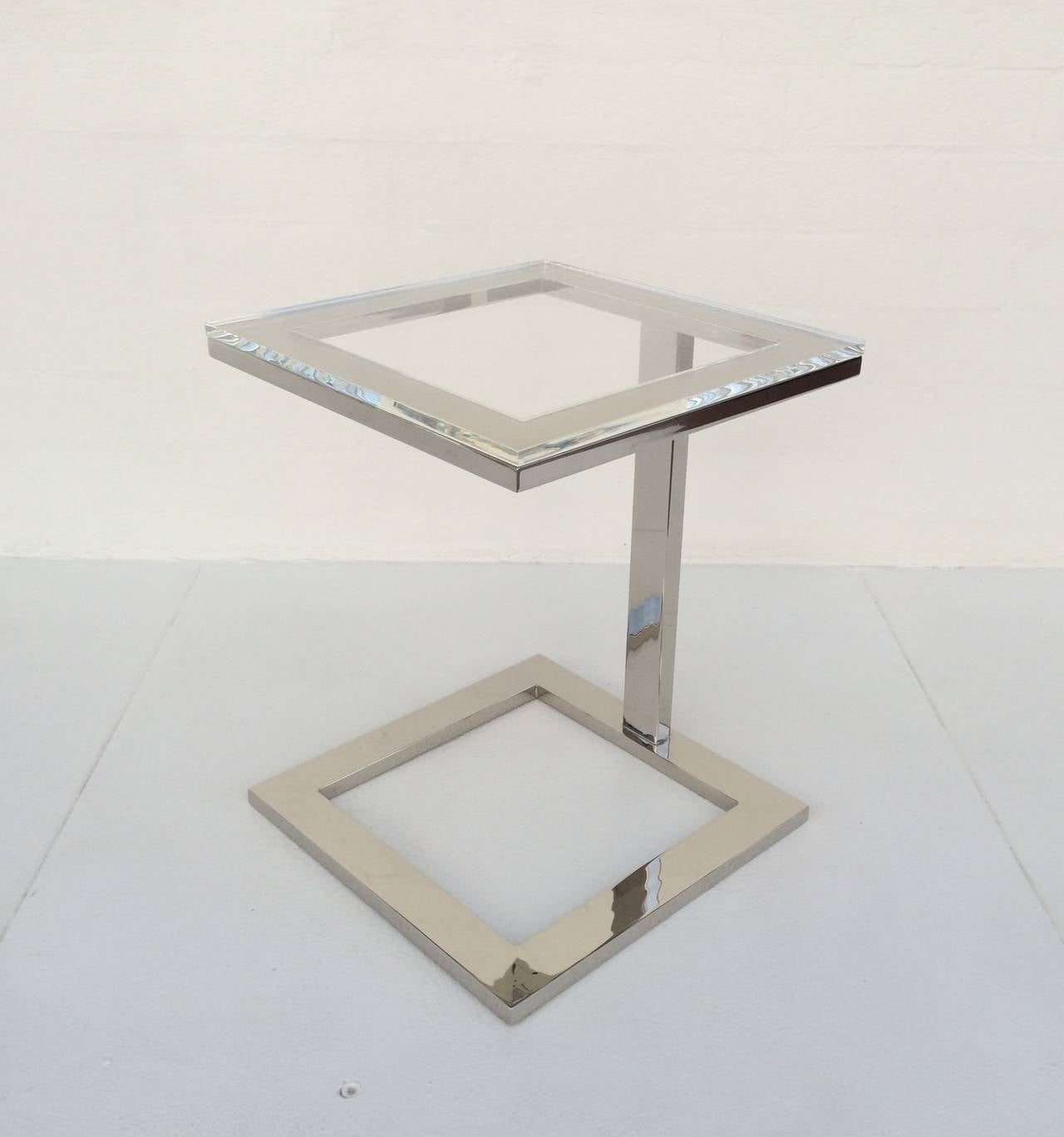 Acrylic And Polished Nickel Side Table By Milo Baughman At
