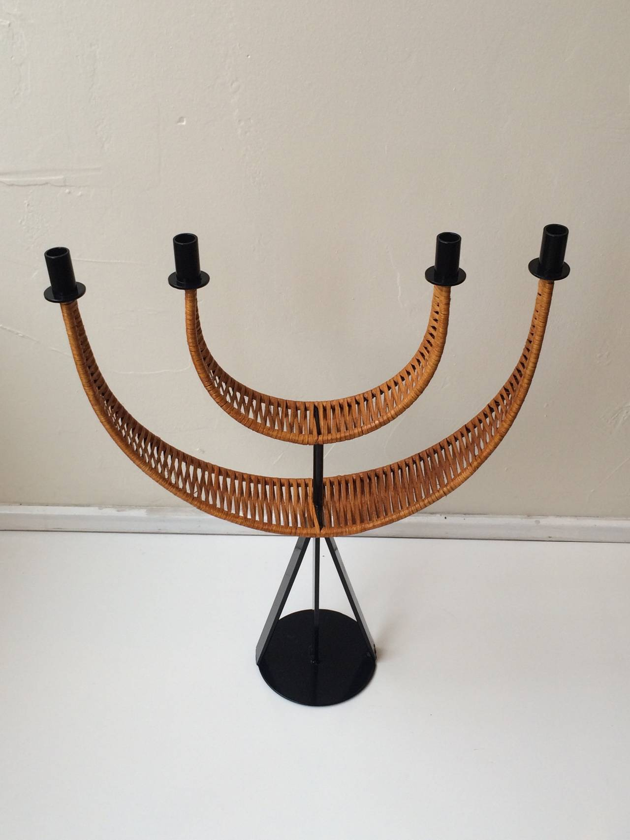 Mid-Century Modern Woven Cane Wrapped Candelabra designed by Arthur Umanoff For Sale