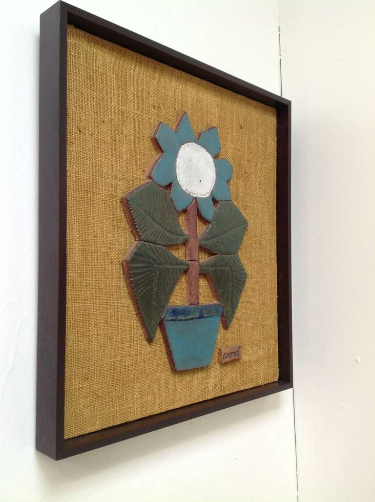 Mid-Century Modern Mounted Studio Ceramic by Raul Coronel For Sale