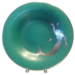 Large Argenta Platter with Mermaid designed by Wilhelm Kage for Gustavsberg