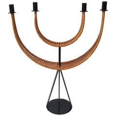 Woven Cane Wrapped Candelabra designed by Arthur Umanoff