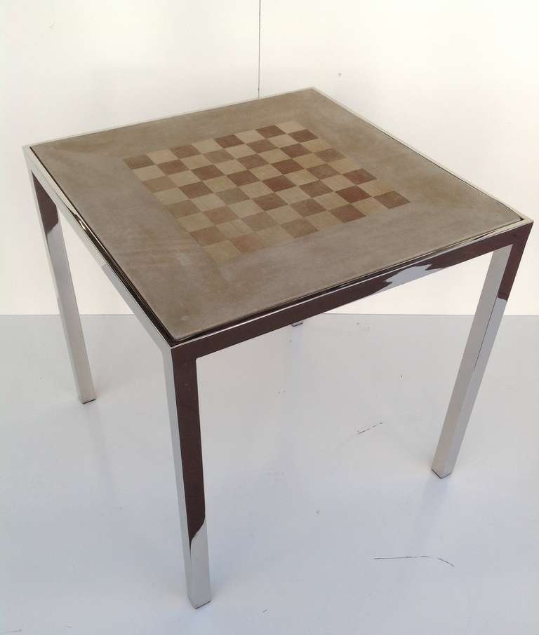 Nickel plated game table designed by milo baughman at 1stdibs for 11 in 1 game table