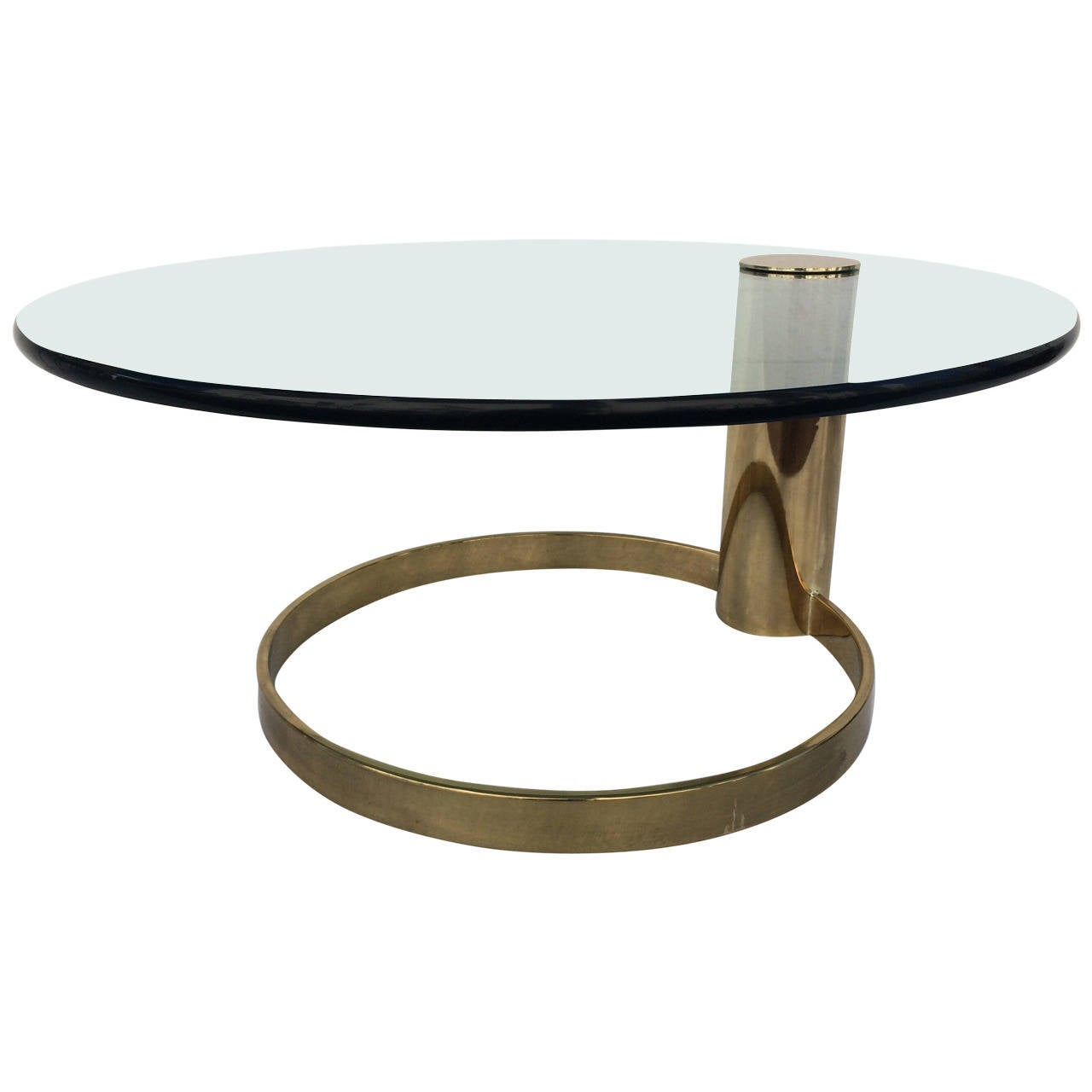 Brass and glass coffee or cocktail table by pace for Brass and glass coffee table