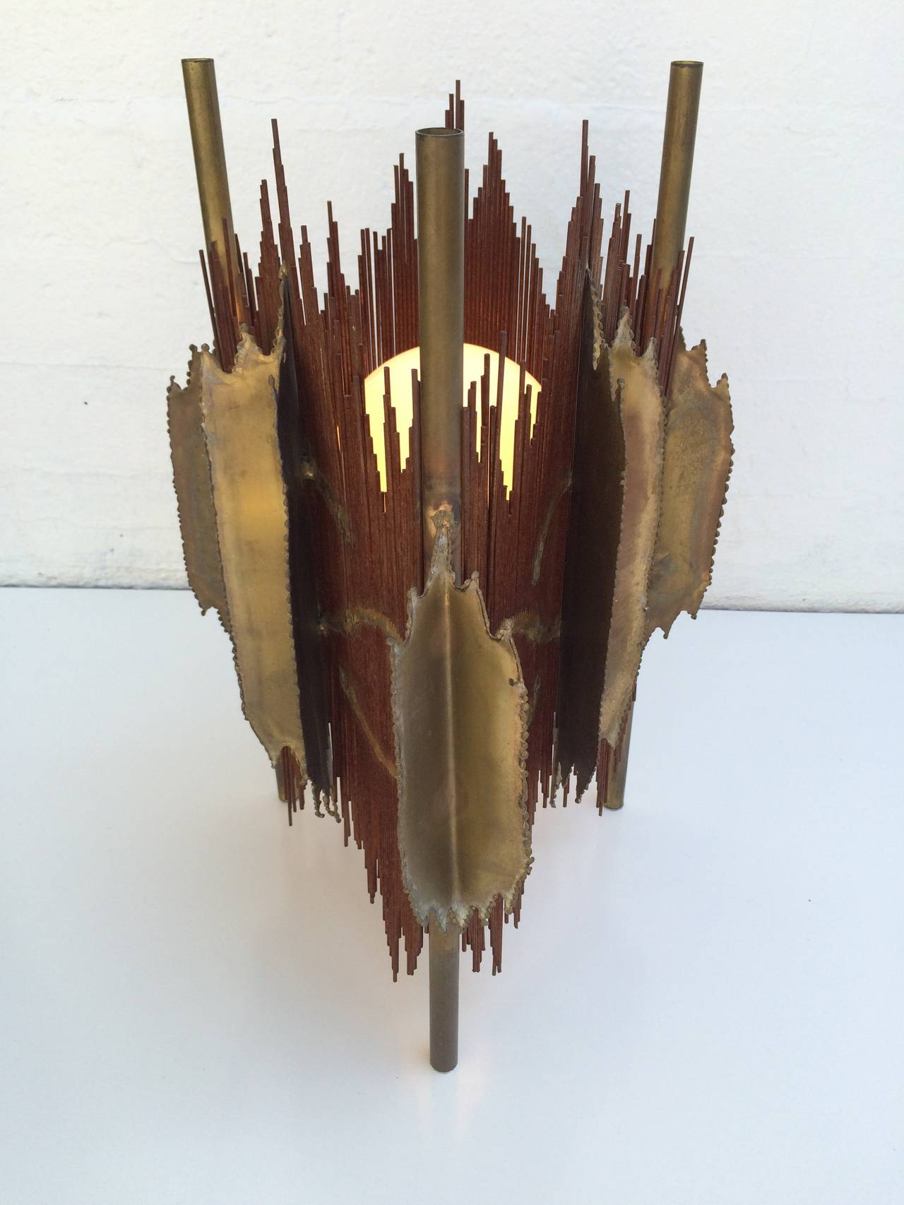Rare Brutalist Torch Cut Sculpture Table Lamp By Silas Seandel 2