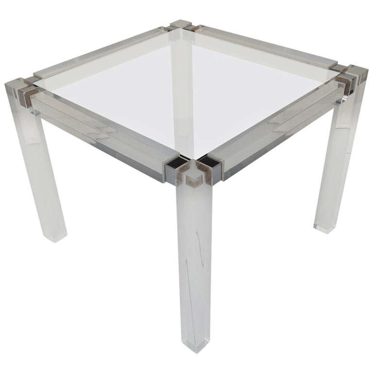 1960s Acrylic & Glass Side Table designed by Charles Hollis Jones For Sale
