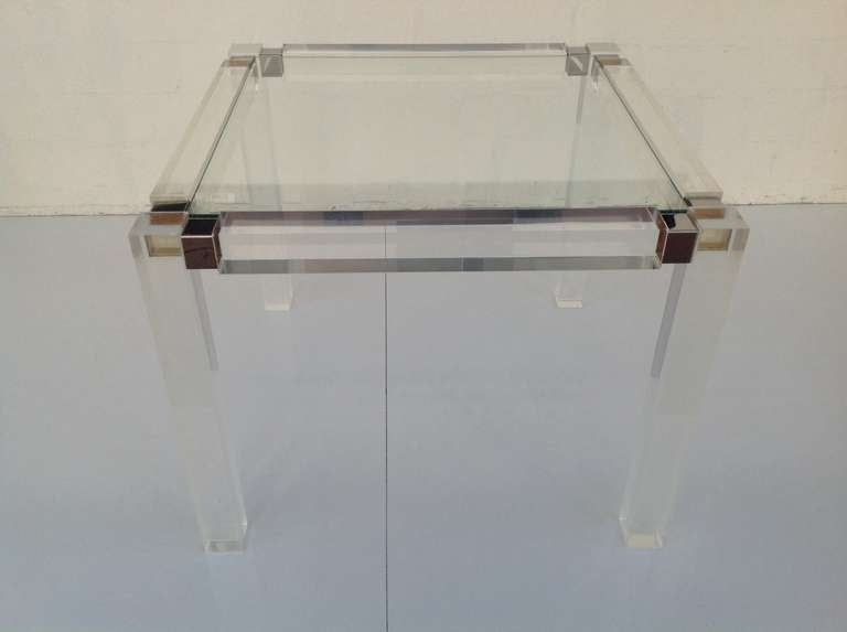 American 1960s Acrylic & Glass Side Table designed by Charles Hollis Jones For Sale
