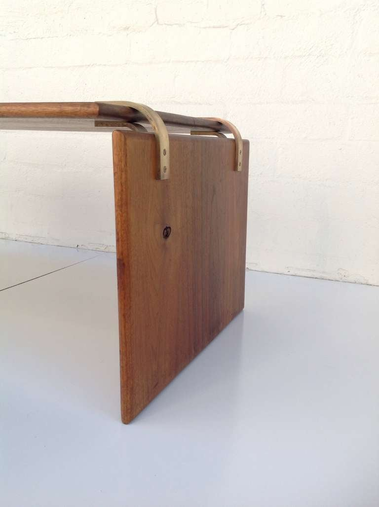 Solid Walnut Coffee Cocktail Table With Brass Hardware At 1stdibs