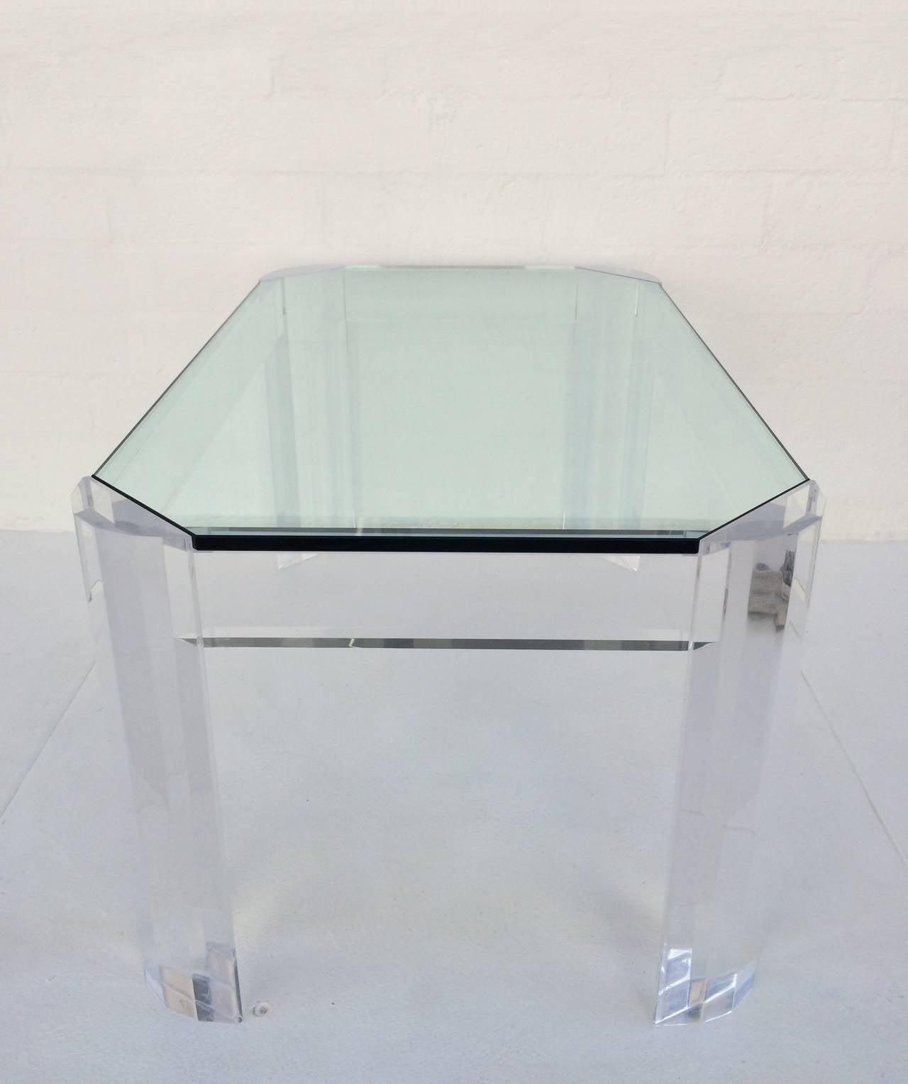 acrylic and glass coffee or cocktail table for sale at 1stdibs