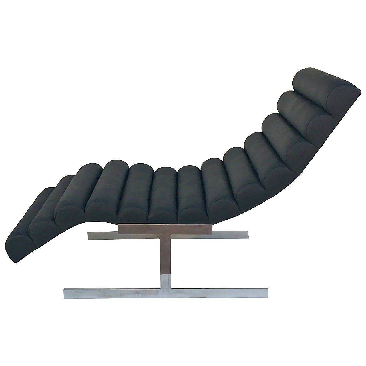Black channeled leather chaise lounge by milo baughman at for Black and white chaise lounge