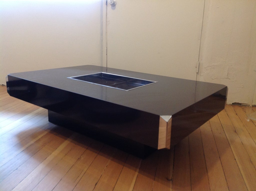 Rectangular steel coffee table by willy rizzo at 1stdibs for Table willy rizzo
